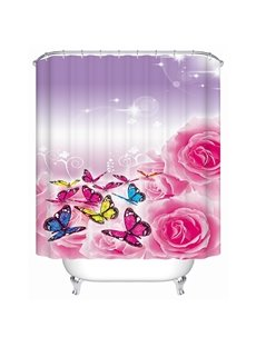 Faddish Roses and Butterfies 3D Shower Curtain