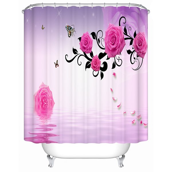 Fashion Concise Romantic Pink Rose and Butterfly 3D Shower Curtain
