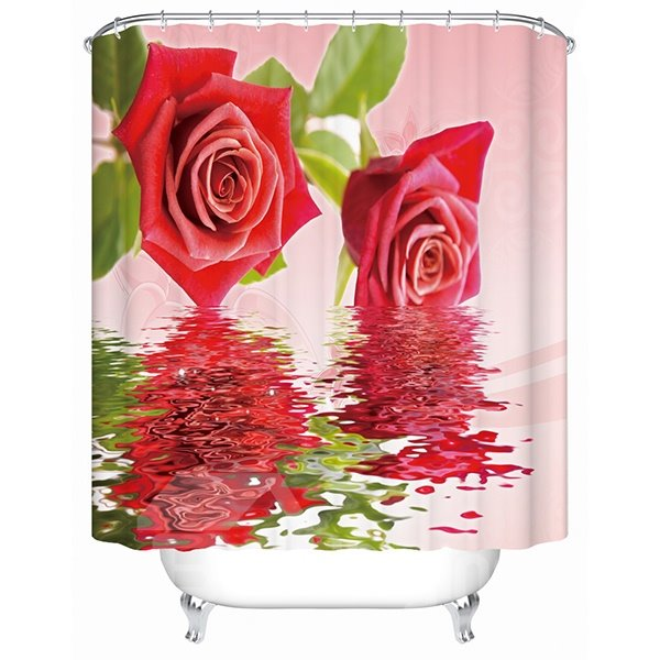 Delicate Charming Red Rose in the Water 3D Shower Curtain