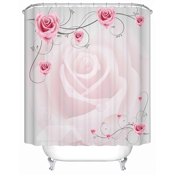 Superior Romantic Graceful Pink Rose 3D Shower Curtain