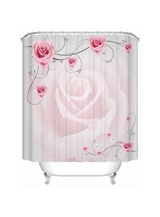 Superior Romantic Graceful Pink Rose 3D Shower Curtain