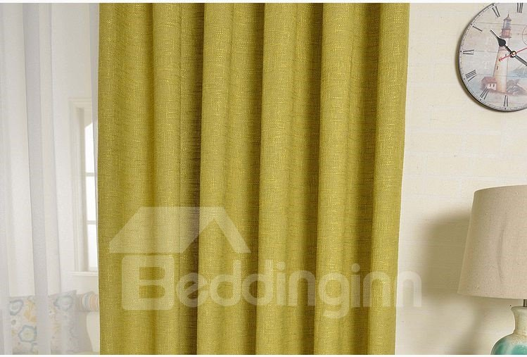 Elegant Concise Green Solid Double Pinch Pleat Curtain