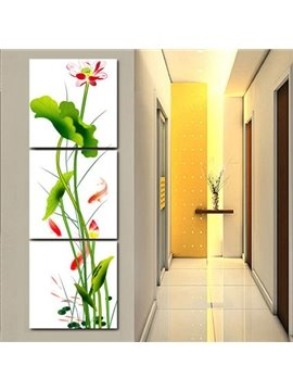 Classic Lotus Flower and Leaf Entrance Hall Decoration Framed 3-Panel Wall Art Print