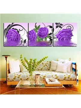 Gorgeous Purple Roses Framed 3-Panel Wall Art Prints