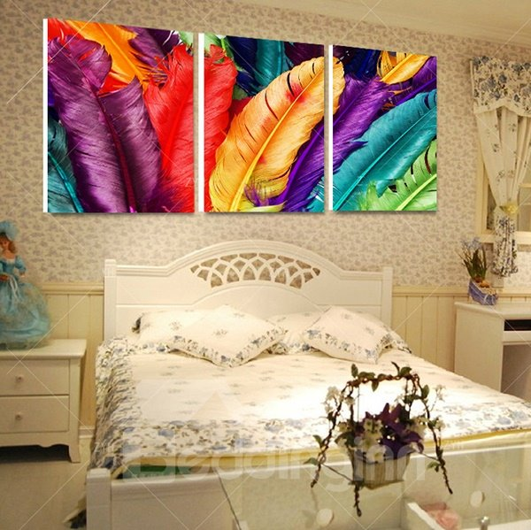 16×16in×3 Panels Colored Furthers Printed Hanging Canvas Waterproof and Eco-friendly Framed Prints