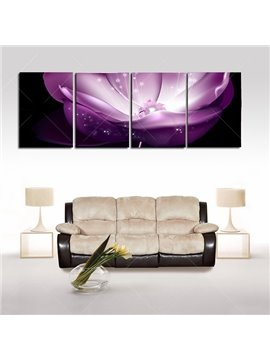 16×24in×4 Panels Purple Waterlily Hanging Canvas Waterproof and Eco-friendly Framed Prints