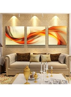 Orange Curved Lines 3-Panel Canvas Framed Wall Prints