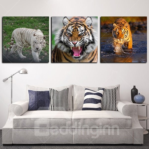 20×20in×3 Panels Tiger Printed Hanging Canvas Waterproof and Eco-friendly Framed Prints