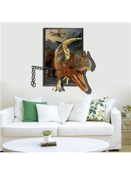Creative 3D Dinosaur on Chains Removable 3D Wall Stickers