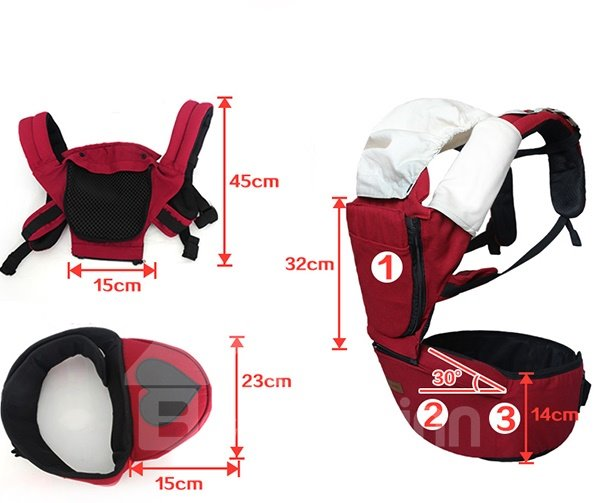 Trendy Dark Red Multi-Functional Baby Hip Seat Carrier