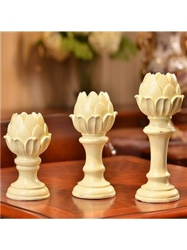 Unique Lotus Design 3-Piece Resin Candle Holders
