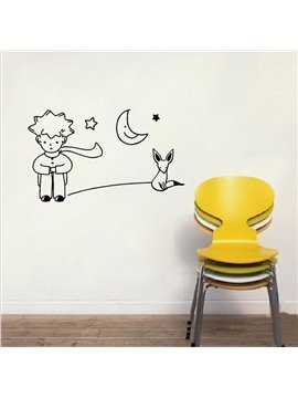 Classic Boy and Little Fox Removable Wall Sticker