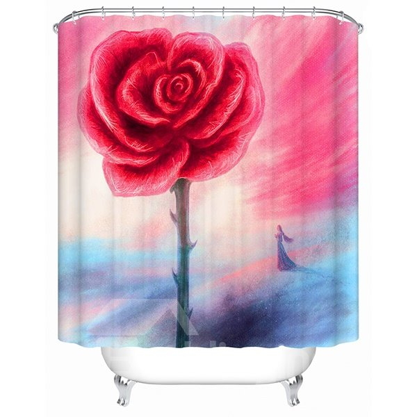 Artistic Design Little Girl and Red Flower 3D Shower Curtain