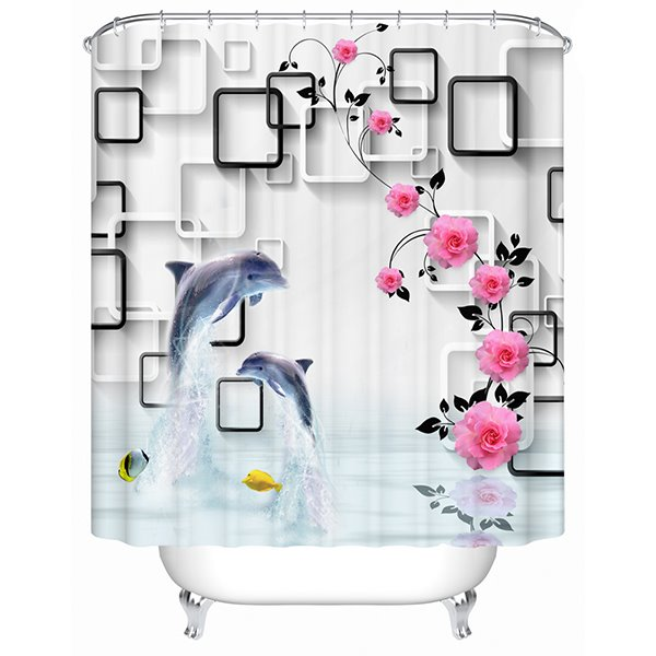 Fashion Concise Two Dolphins and Pink Flower 3D Shower Curtain