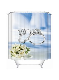 Romantic Diamond Ring and Rose Bouquet 3D Shower Curtain