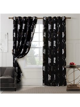 Top Class Floral Pattern Grommet Top Curtain