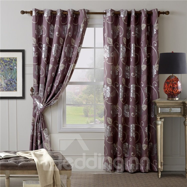 Romantic Purple Floral Pattern Quality Grommet Top Curtain