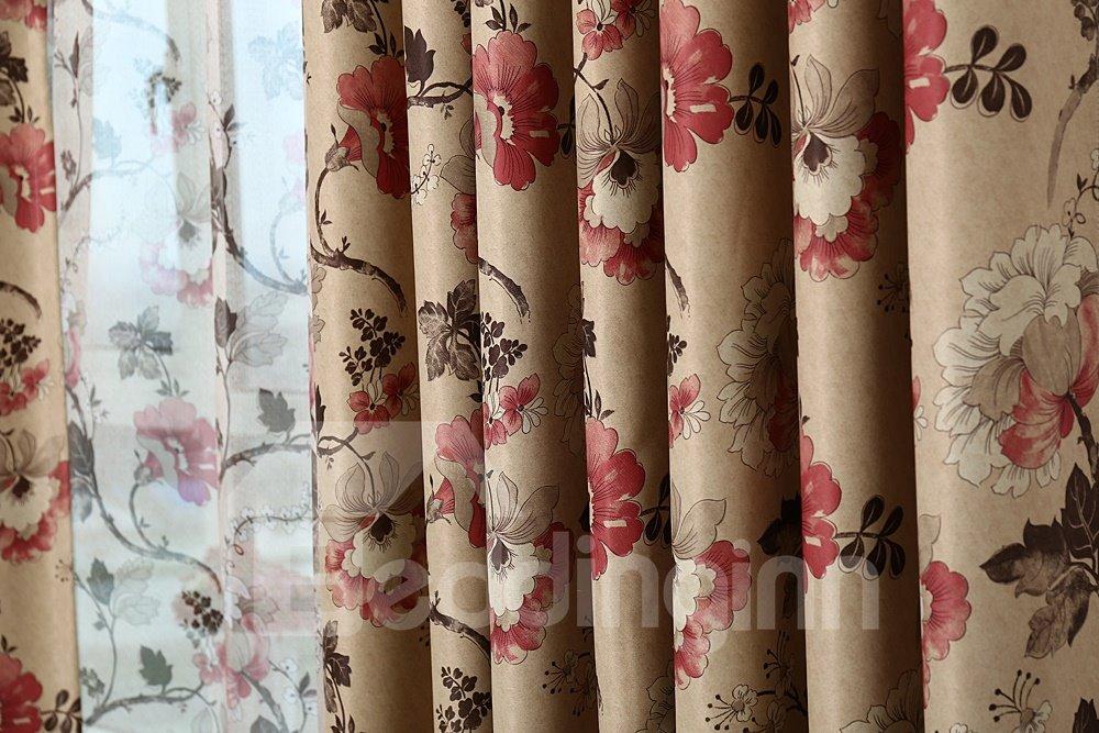 Hot Selling Elegant Floral Grommet Top Curtain