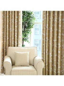 Elegant Fresh Floral Grommet Top Curtain