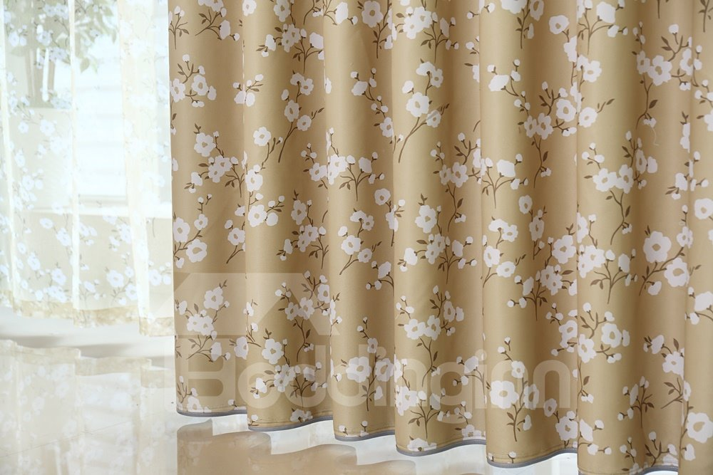 Elegant Fresh Floral Grommet Top Curtain