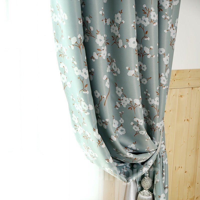 Wonderful Lovely Floral Pattern Grommet Top Curtain