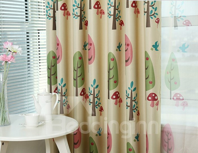 Modern High Quality Tree Pattern Grommet Top Curtain