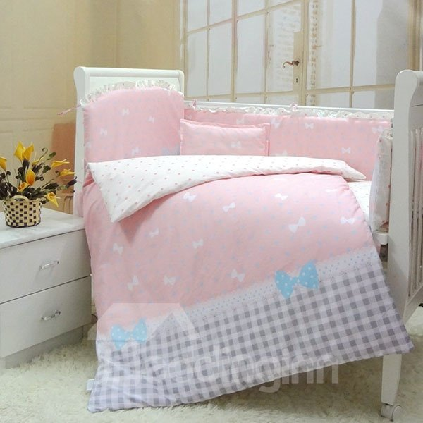 Elegant Bowknot and Plaid Pattern 10-Piece Crib Bedding Sets