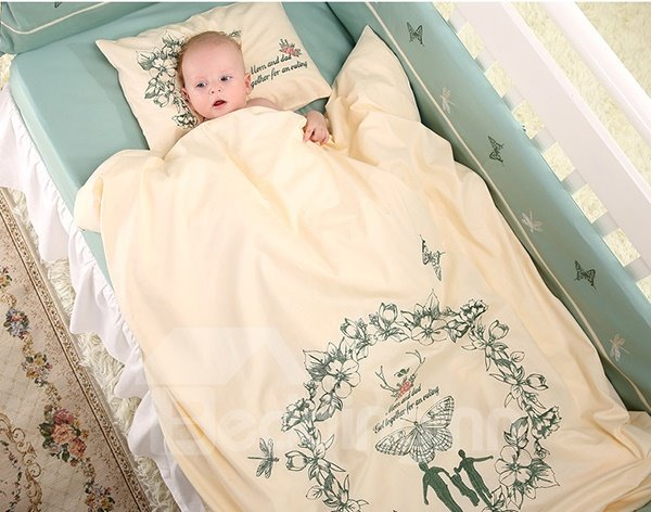 Exquisite Family and Butterfly Print Cotton 9-Piece Crib Bedding Sets