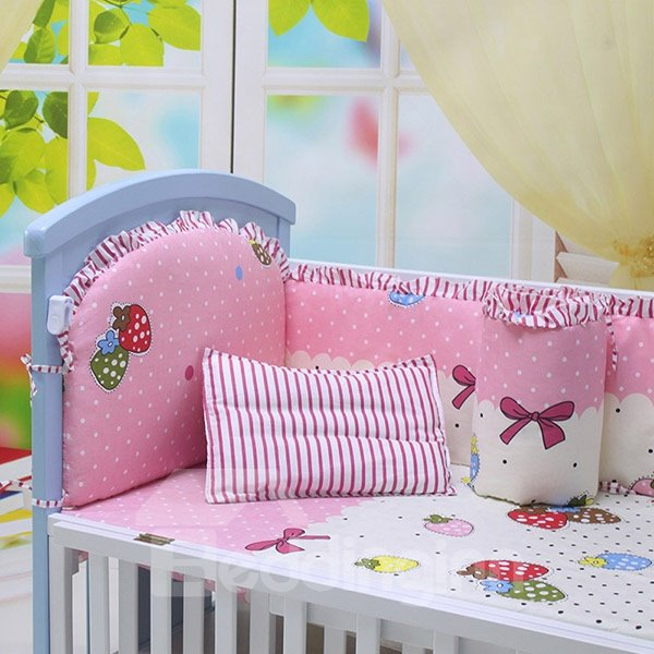 Pink Strawberry and Bowknot Pattern Crib Bedding Sets
