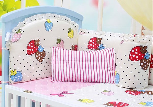 Polka Dot and Strawberry Pattern Crib Bedding Sets