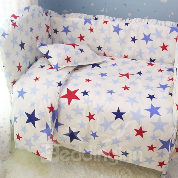 Fashionable Blue and Red Stars Pattern Crib Bedding Sets