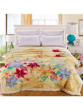 Refreshing Pastoral Floral Design Yellow Raschel Blanket