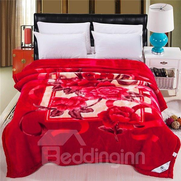 Fiery Red Flowers Printing Fluffy Raschel Blanket