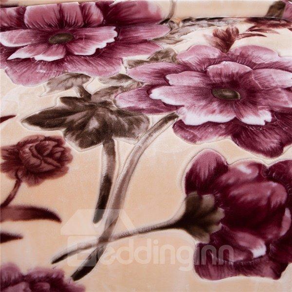 Dark Red Flowers Printing Plush Raschel Blanket