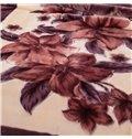 Elegant Brown Floral Printing Classy Raschel Blanket