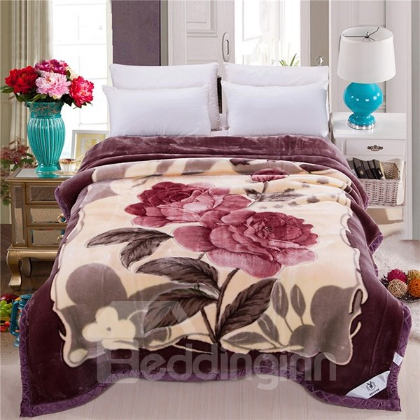 Two Red Flowers Printing Super Fluffy Raschel Blanket