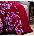 Top Class Purple Flowers Printing Thick Raschel Blanket