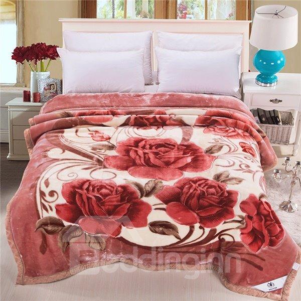 Beautiful Blooming Flowers Printing Soft Raschel Blanket