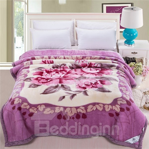 Gorgeous Elegant Floral Design Purple Raschel Blanket