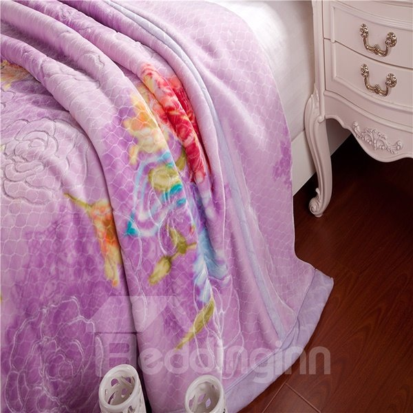Pretty Floral Design Noble Purple Raschel Blanket