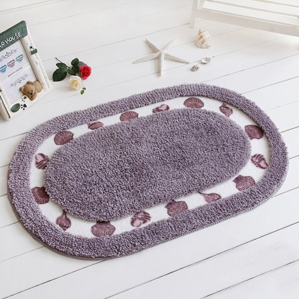 Modern Home Decor Concise Shell Printing Soft Bath Rug