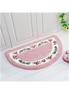 Noble Graceful Rose Pattern Half-round Bath Rug
