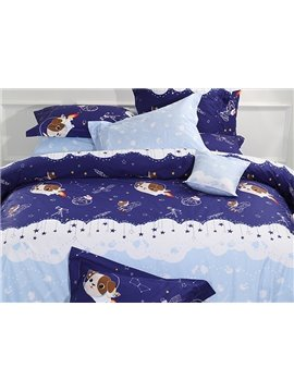 Dark Blue Cute Dog in Space Satellite Pattern Kids 3-Piece Duvet Cover Sets