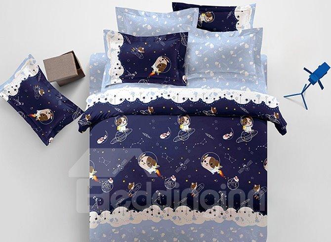 Dark Blue Cute Dog in Space Satellite Pattern Kids 3-Piece Duvet Cover Sets