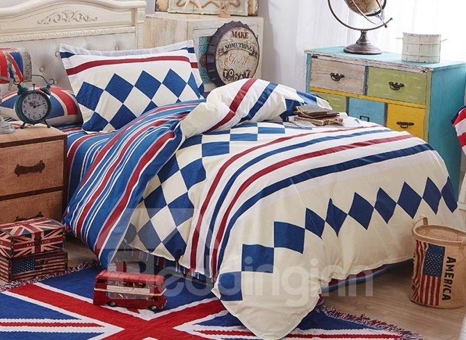 Dark Blue Plaid and Stripes Pattern Kids 3-Piece Duvet Cover Sets