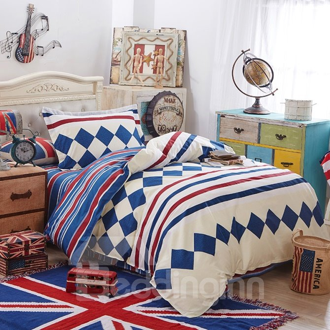 Dark Blue Plaid and Stripes Pattern Kids 3-Piece Duvet Cover Sets