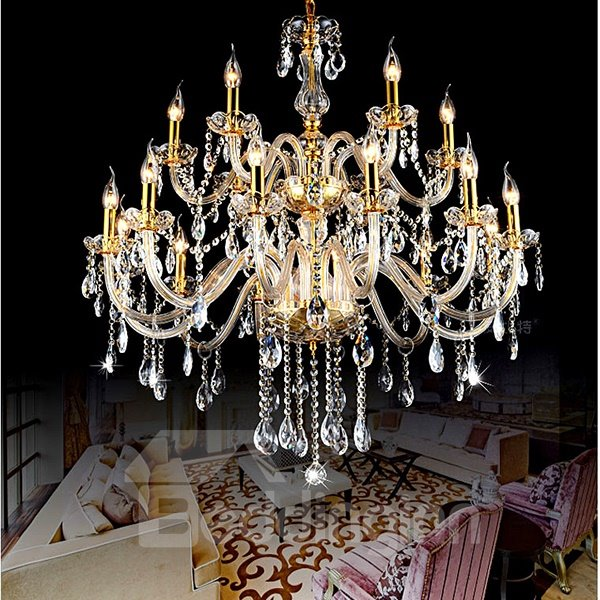 Fabulous Luxurious 2-Tier 18-Head Crystal Chandelier