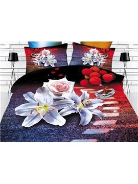 Romantic White Lily and Rose Print Polyester 4-Piece Duvet Cover Sets