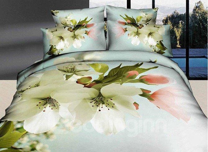 Snow-white Pear Blossom Print Cotton 4-Piece Duvet Cover Sets