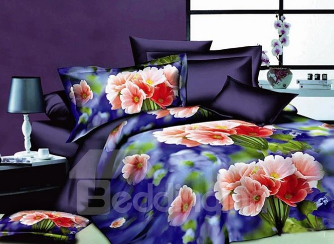 Colorful Small Floral Print 4-Piece Polyester Duvet Cover Sets